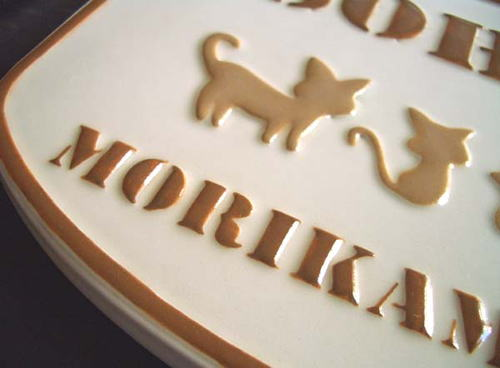 オリジナル陶器表札K82ねこファミリー