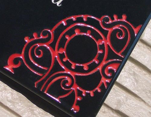 オリジナル陶器表札 SQ15 切り絵アラベスク